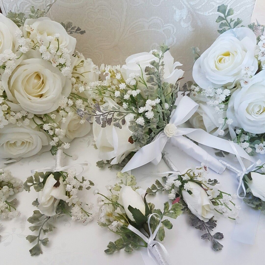 Gorgeous Artificial Wedding Flowers White Silk Roses Gypsophila