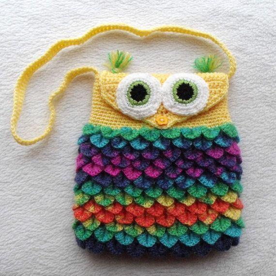 Colorful Owl Purse Fully Lined Crochet Owl Bag By Handmadebyinese