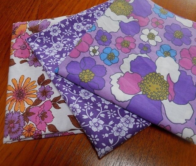 Vintage Fabric Retro 70s Polycotton Sheeting Craft patchwork 3 piece FQ pack