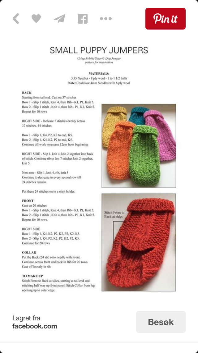 Pin de Marilyn Pearson en Craft | Pinterest | Suéteres para perros ...