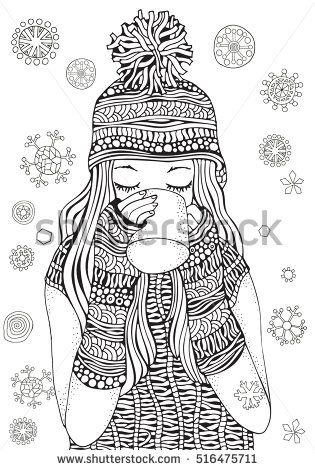 Winter girl and gifts Winter snowflakes. Adult Coloring book page ...