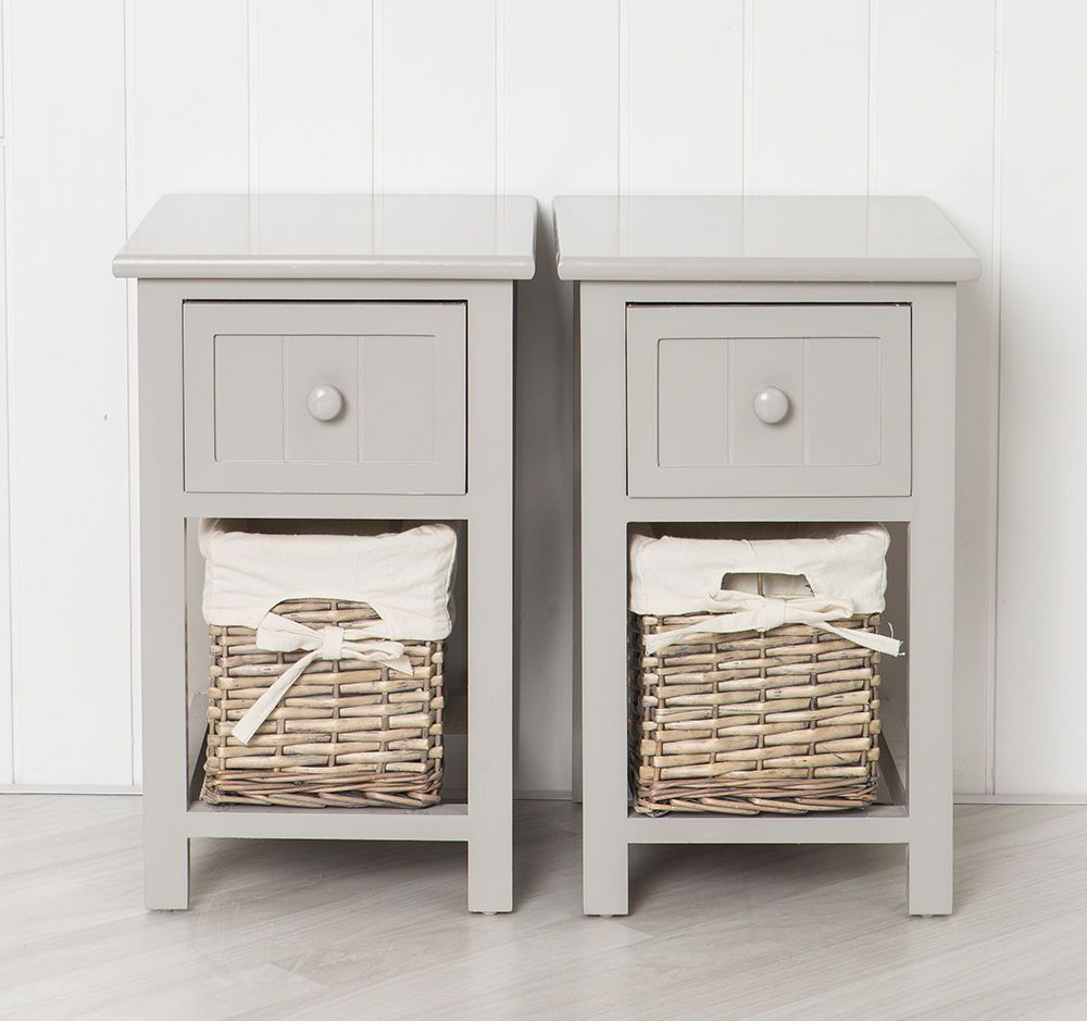 Best Pair Of Shabby Chic Grey Bedside Units Tables Drawers With 400 x 300