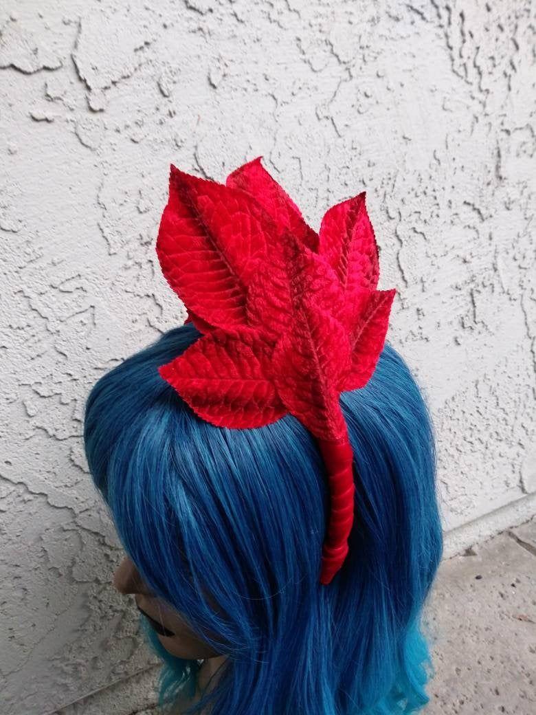 Red Velvet Leaf Headband, Fascinator Style Headband, Leaf Headband