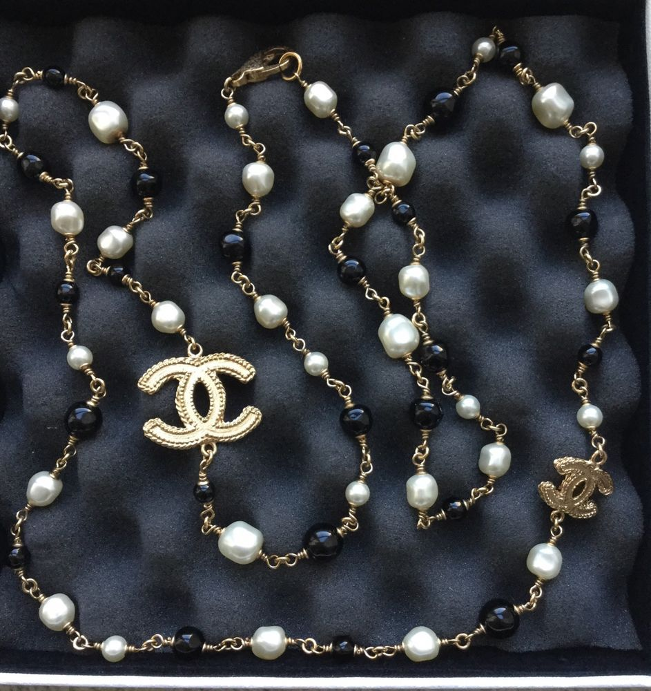 Chanel Necklace With Black Beads And Pearls And Gold Cc Jewelry