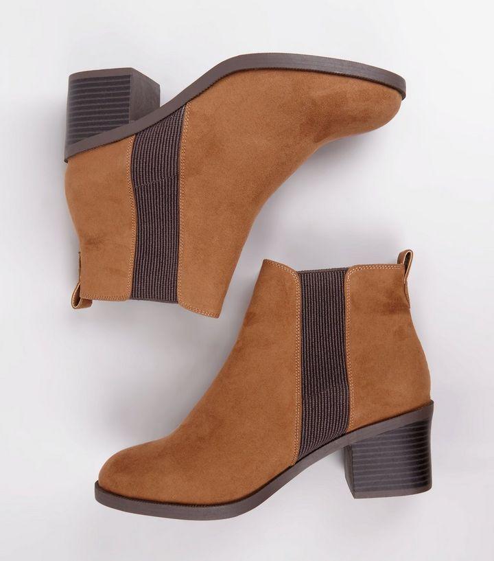 Wide Fit Tan Comfort Block Heel Chelsea Boots   Chelsea