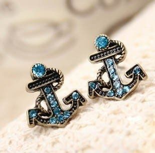 Imagen de anchor, earrings, and blue