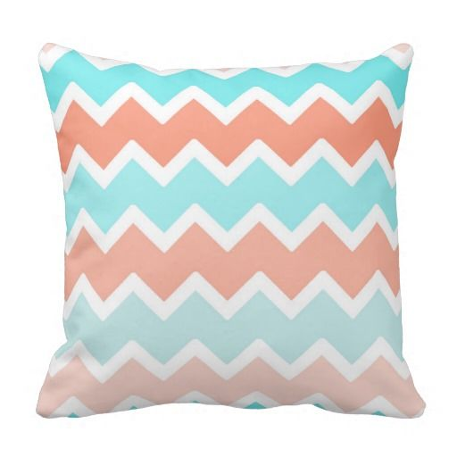 Blue Coral Throw Pillow : Aqua Blue Coral Ombre Chevron Throw Pillow Chevron throw pillows, Aqua blue and Ombre