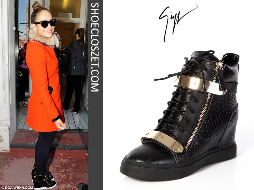 13f62be63407e jennifer lopez in london giuseppe zanotti black croc wedge sneakers ...