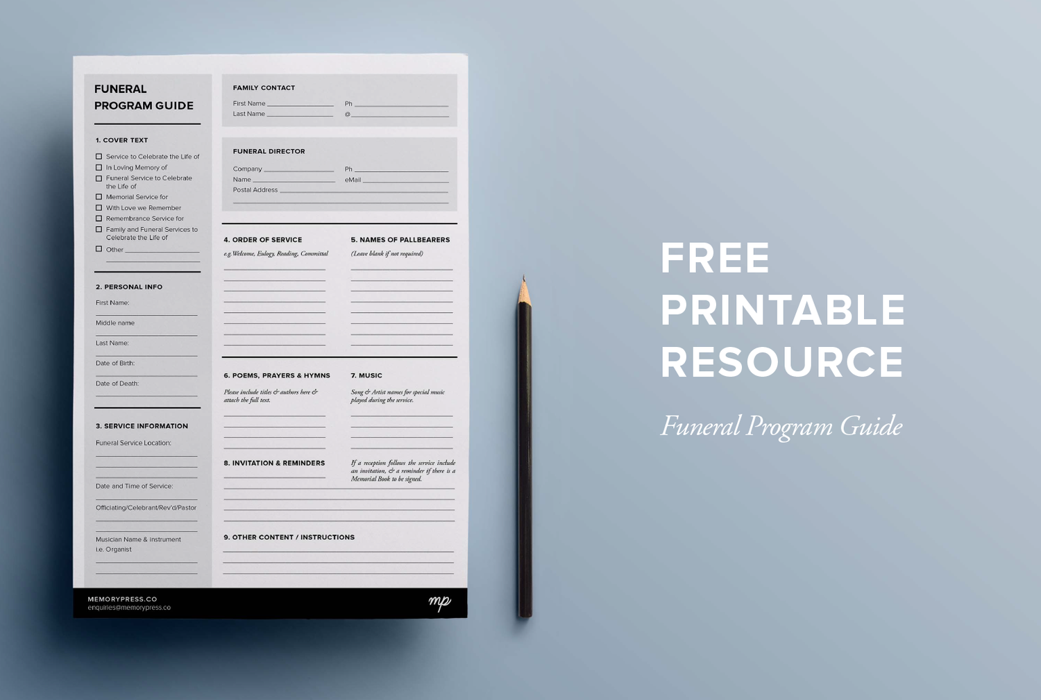 Free Printable Funeral Program Check Sheet To Help You With Planning Your  Service Booklet.  Free Printable Memorial Service Programs