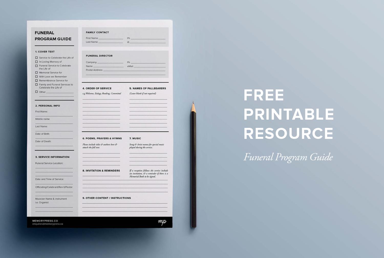 Free Printable Funeral Program Planner Losinghim Pinterest