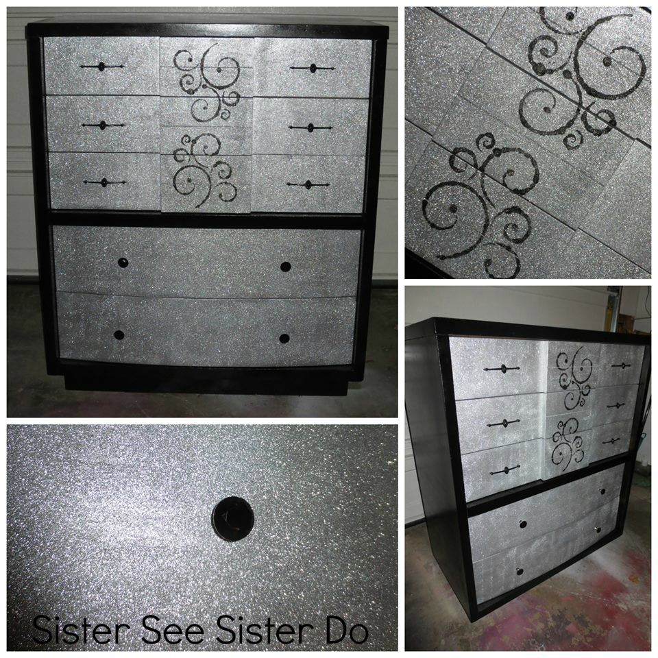 Girly Bedroom Furniture Uk: Girly Dresser Black Glitter Bling Dresser