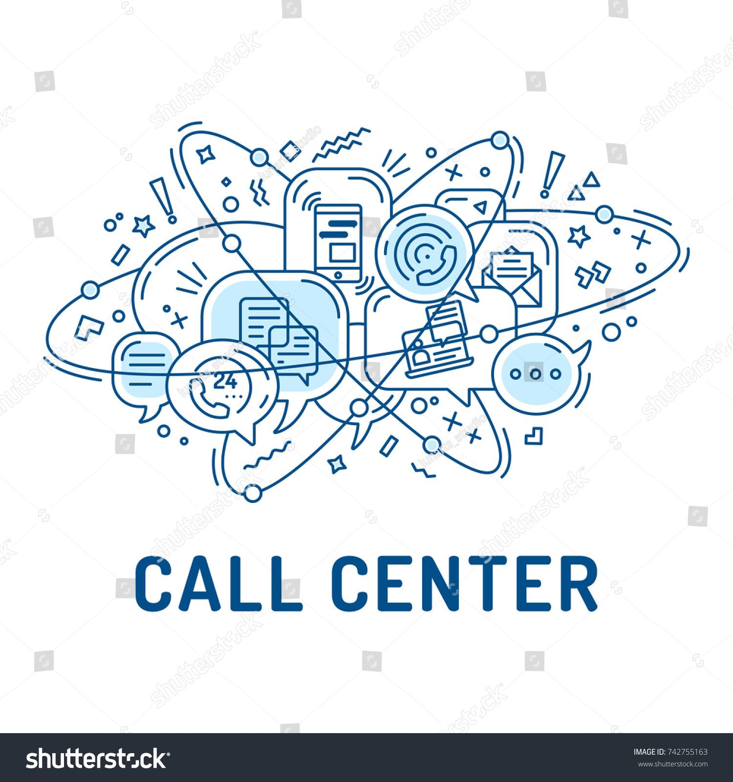 Illustration From Communication Or Call Center Icons In
