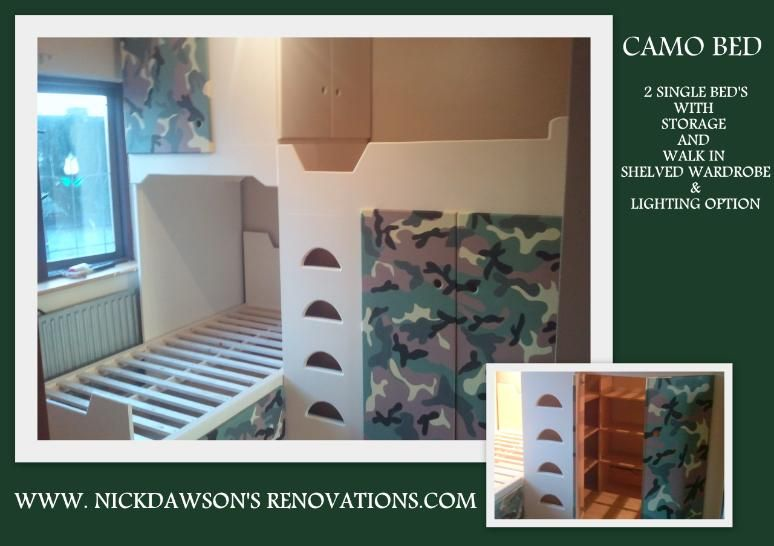2 x bunk beds with under wardrobe and camo design - awesome!  My Clay man would love it.