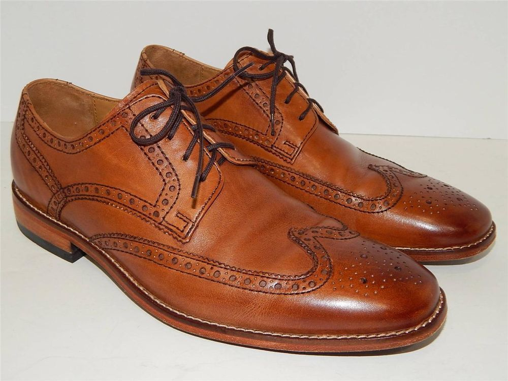 COLE HAAN Air GIRALDO II Sz 9 Mens British Tan Leather Wingtip Oxford Dress  Shoe