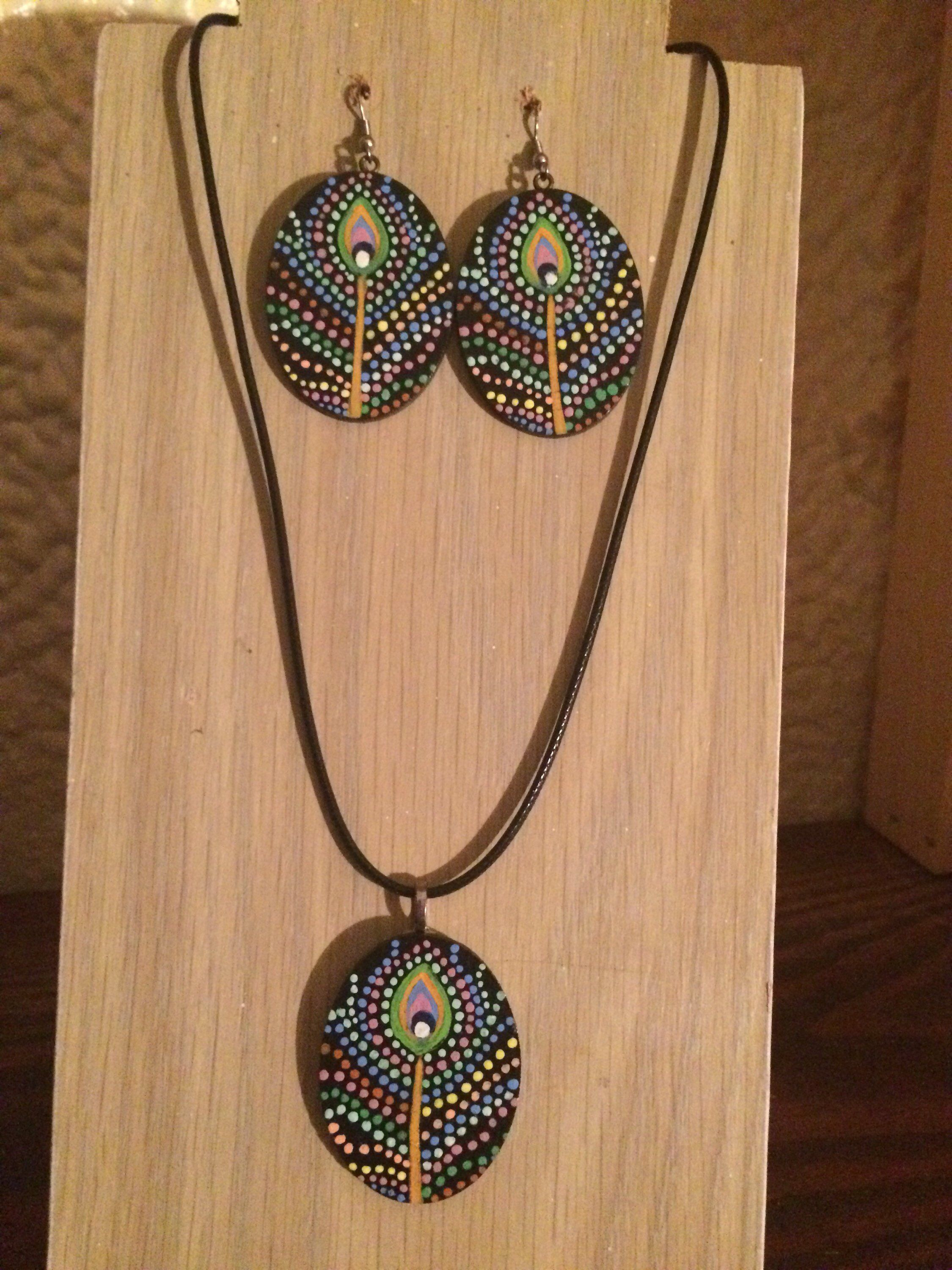 Peacock Feather Dotted Necklace Pendant And Earring Set Etsy Hand Painted Jewelry Painted Wood Jewelry Wooden Bead Jewelry