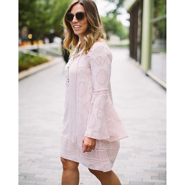 Blush Tones for the day // This fun bell sleeved dress, sunnies and necklace stack are all 20% off today with code: FALLPERK!! Shop the entire look via @liketoknow.it http://liketk.it/2p9FI #liketkit #ltksalealert #ltkstyletip :camera:: @angzion_photograp