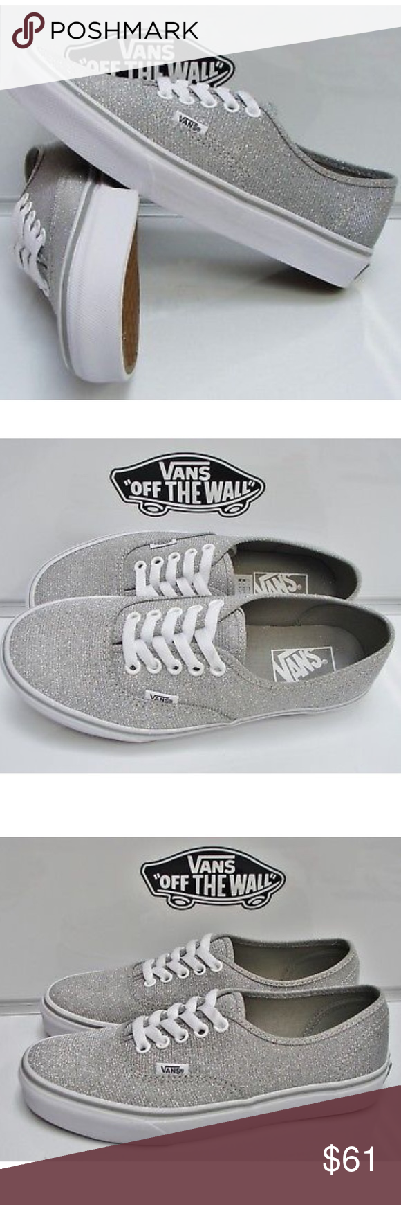 73152ce8bb0aac Vans Authentic Shimmer Silver Shoes The Vans Authentic Silver Shimmer shoe  blends together a classic look