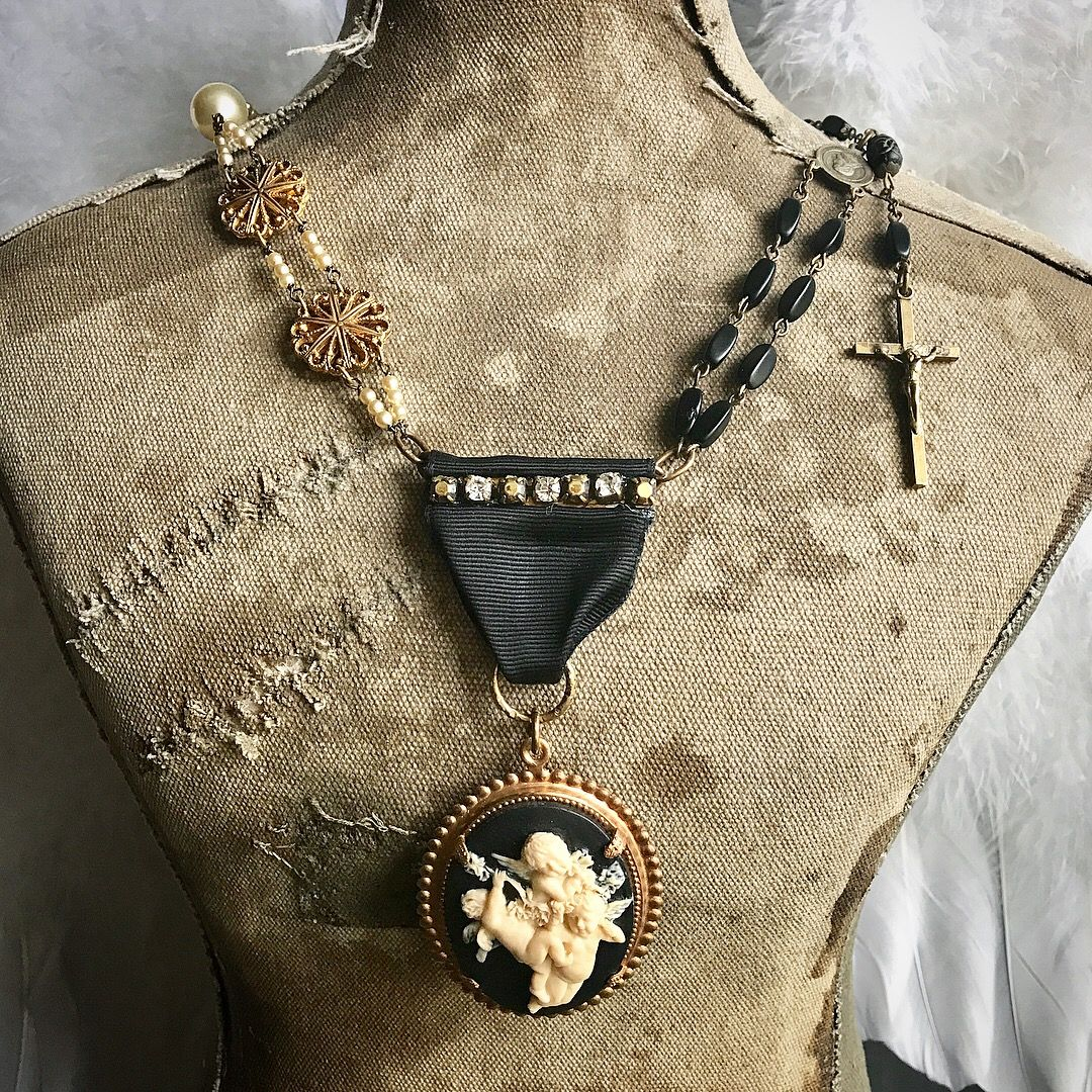 Cherub Rock - Vintage assemblage necklace ooak by Alpha Female Studio.