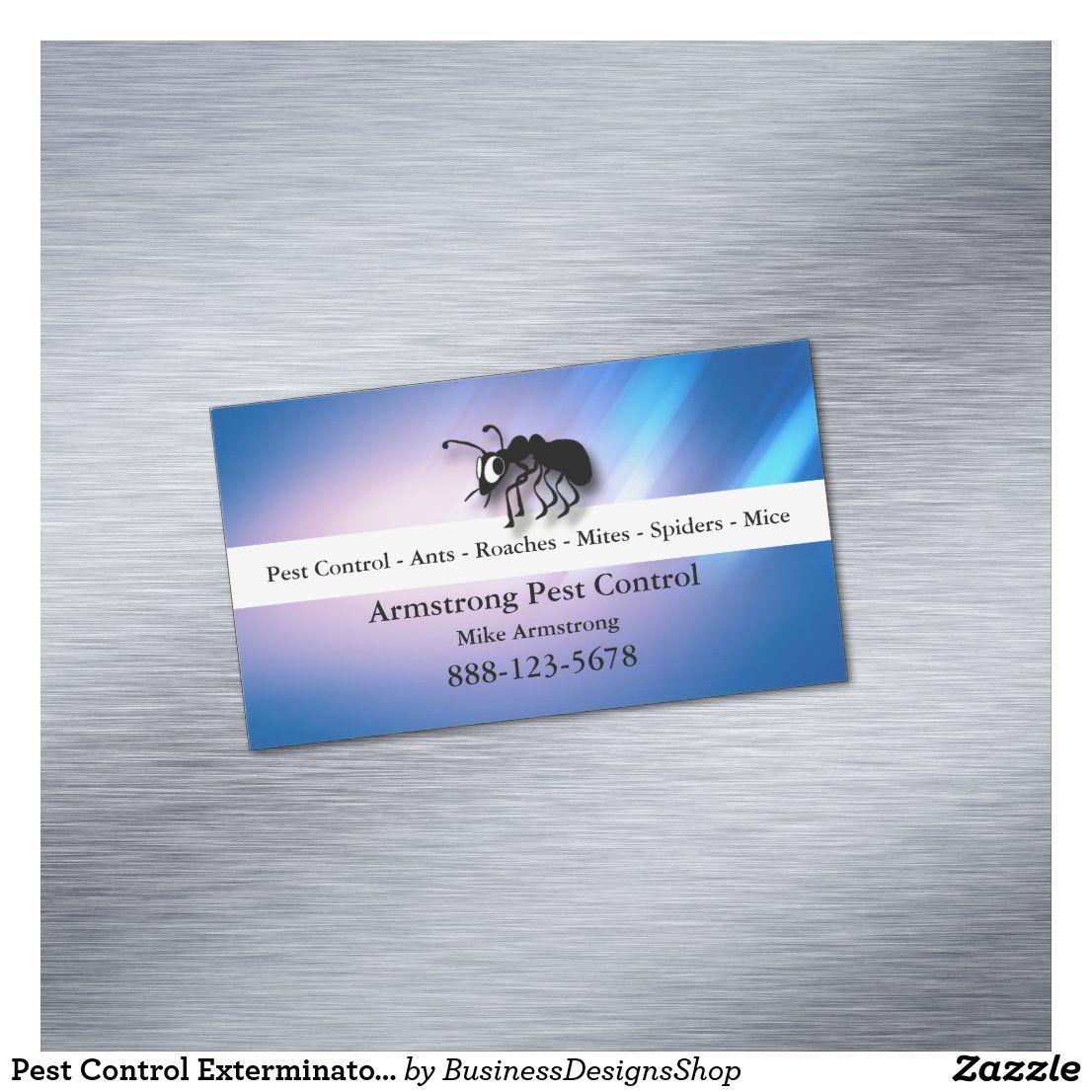 Pest Control Exterminator Ant Magnetic Business Card Zazzle Com Magnetic Business Cards Pest Control Pests