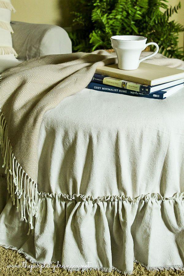 Drop Cloth Ottoman Cover