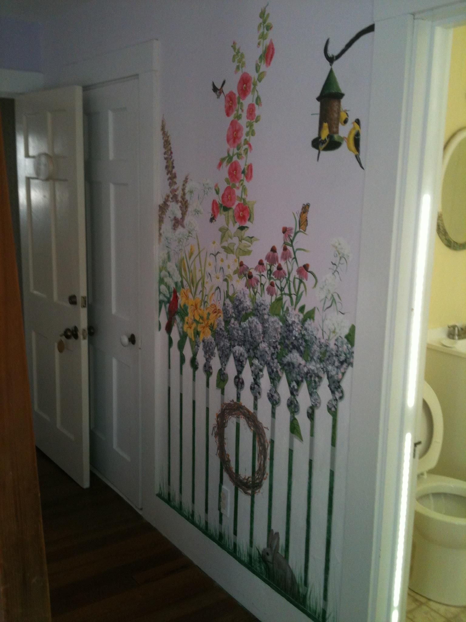 Picket Fence Mural Mural Painting Wall Murals Wall Decor