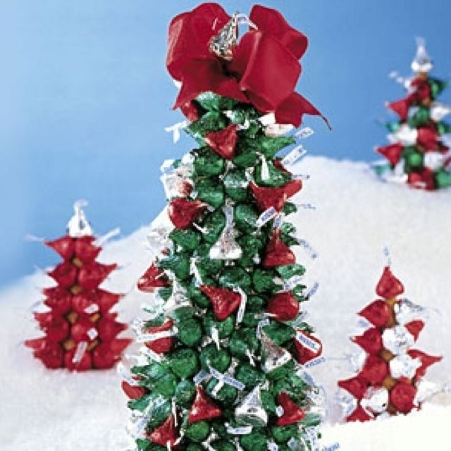 Hershey's kiss Christmas tree. Styrofoam cone wrapped in foil and ...