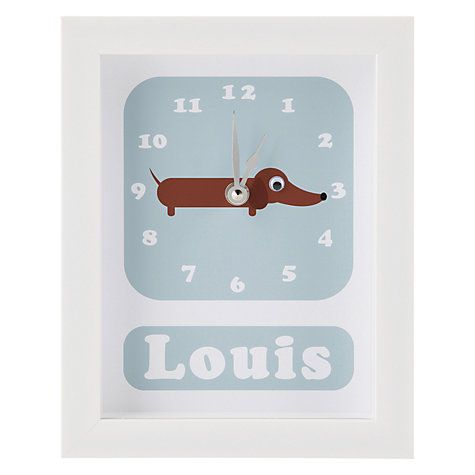 Buy Stripey Cats Personalised Sol Sausage Dog Framed Clock, 23 x 18cm Online at…