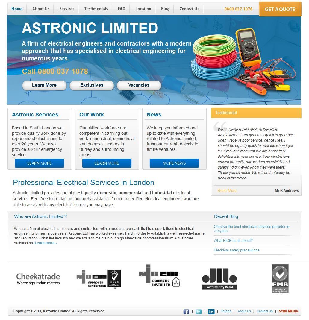 Astronic ltd electricians electrical contractors 50