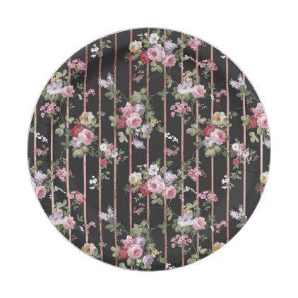 Elegant faux rose gold stripes pink vintage roses paper plate ...