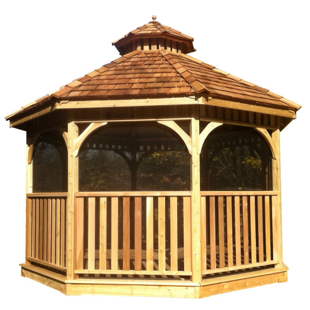 Outdoor Living Today 10 Ft Bayside Cedar Octagon Gazebo With Screen Kit Bayside10gosk The Home Depot Gazebo Outdoor Living Cedar Roof