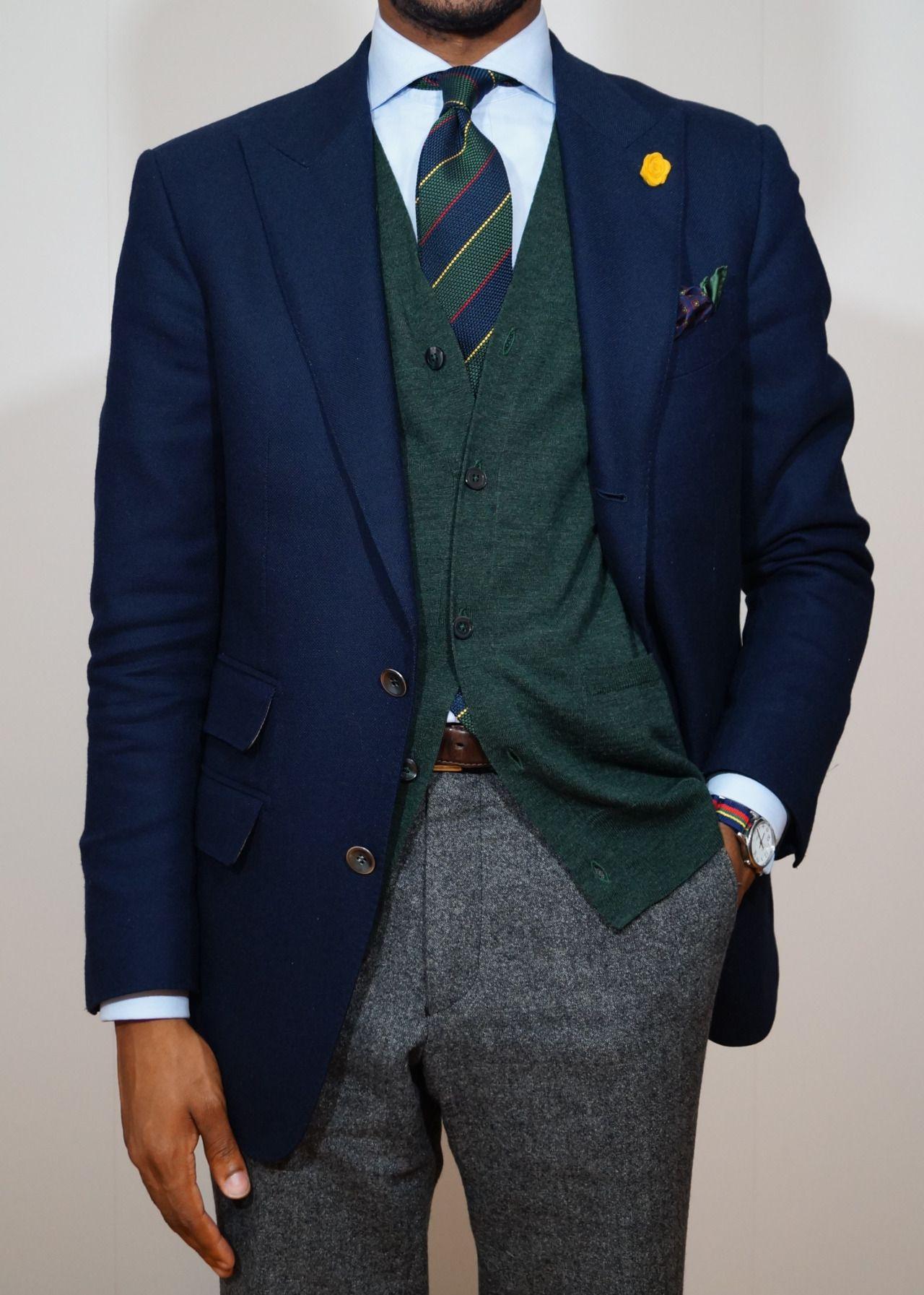 Navy blazer, light blue shirt, green & navy Argyle
