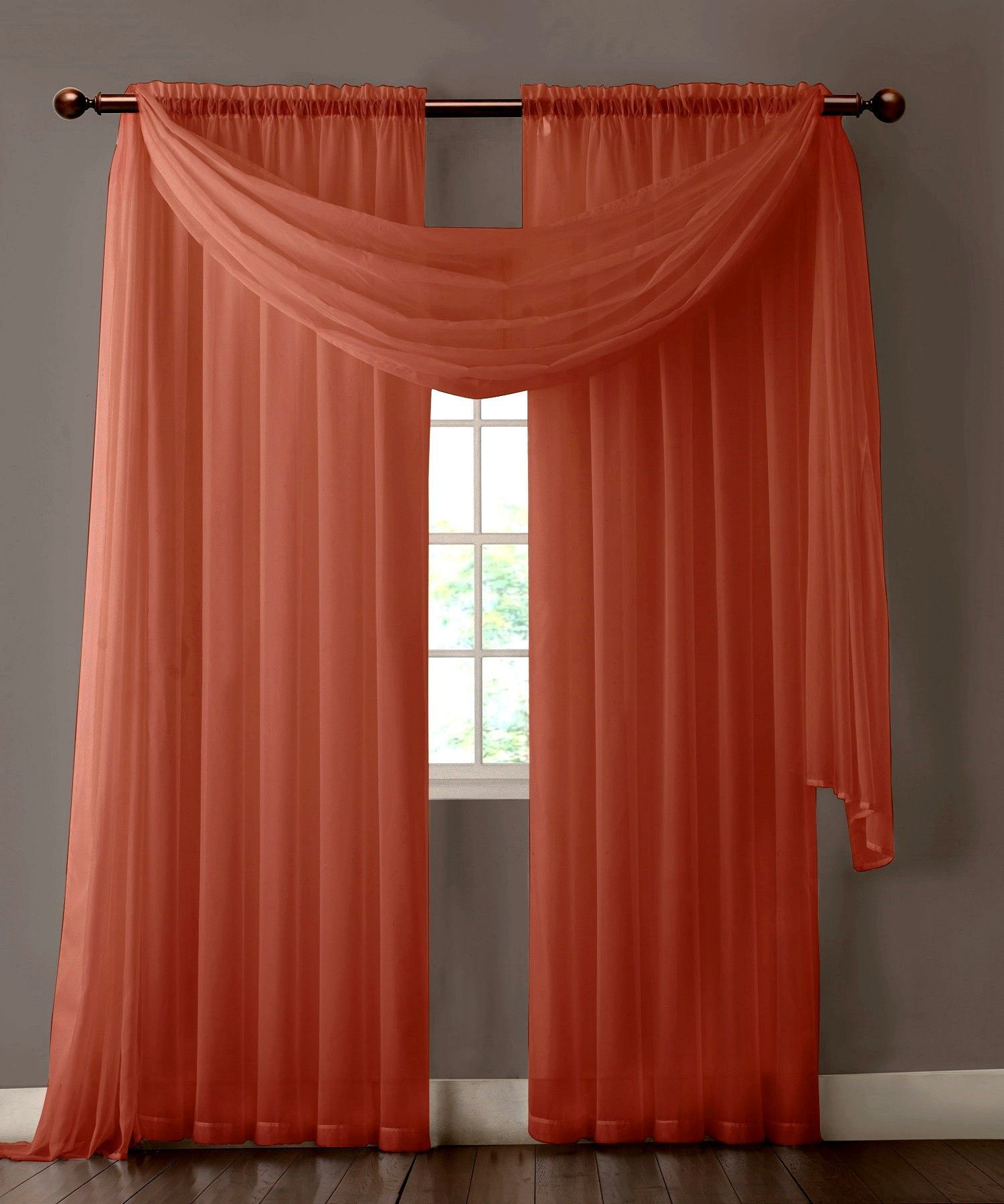 Warm home designs pair of orange rust sheer curtains or for Sheer panel curtain ideas