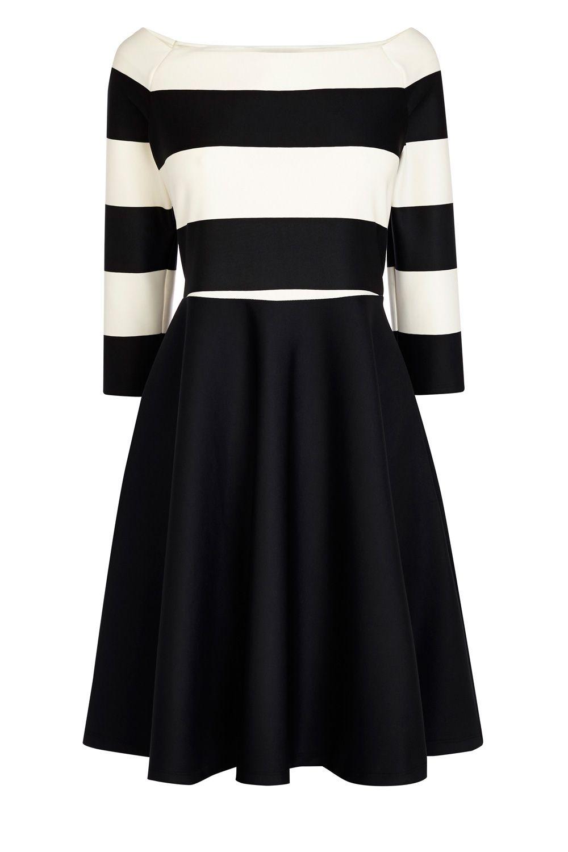 Black dress coast - Immy Bardot Dress Coast Monochrome Black And White Skater Style
