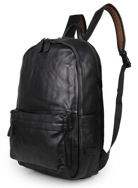 Side View Of The Black Leather Backpack Classic Style