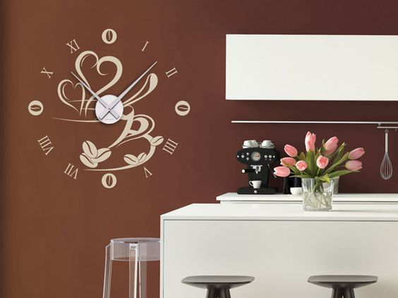 Wandtattoos als große Wanduhren - Moderne Uhren mal anders Walls - wandtattoos küche kaffee