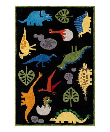 Take a look at this Black Friendly Dinosaur Rug by Lil Mo by Momeni on #zulily today!