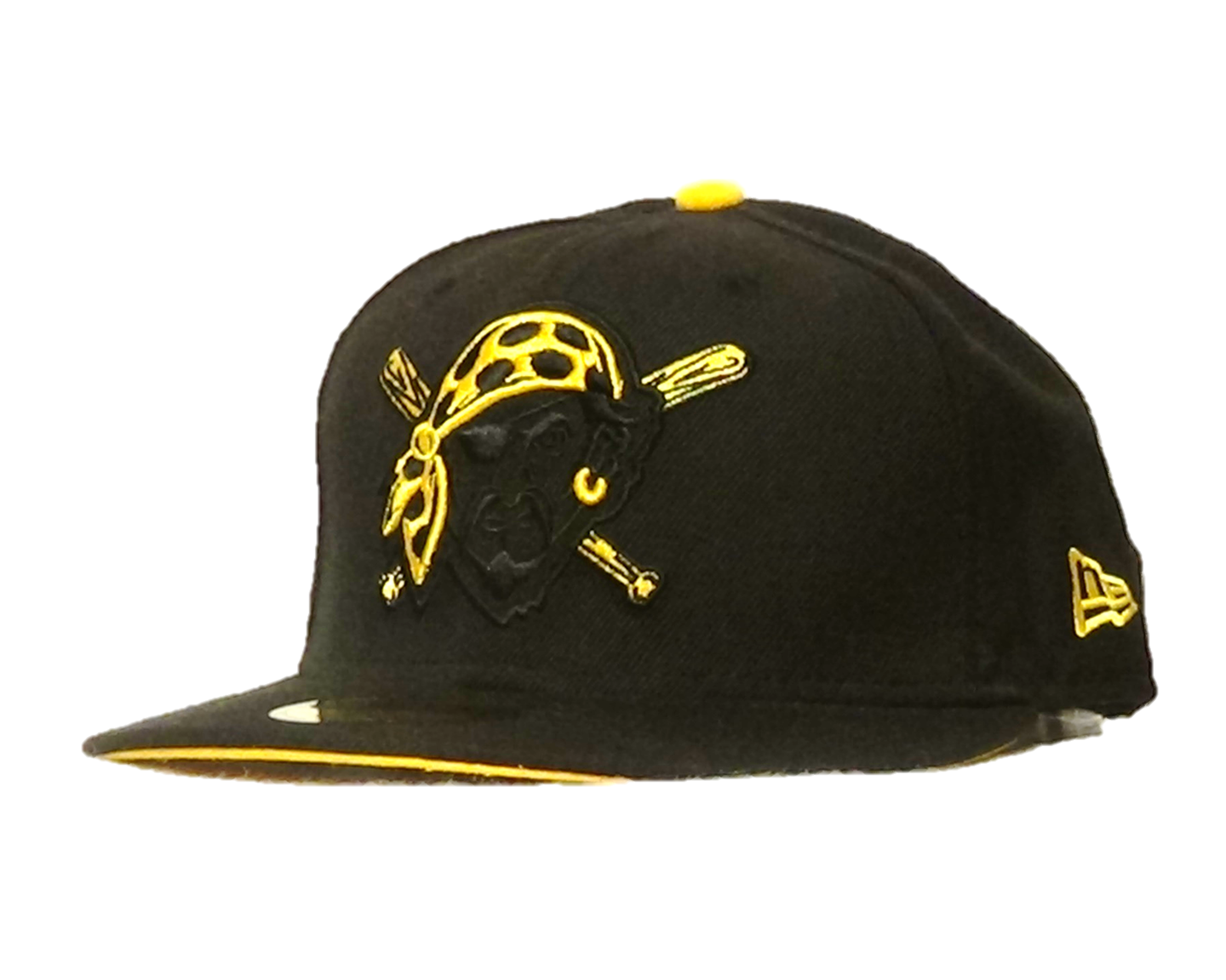 20e84b28ed0 New Era 59fifty fitted black hat for any fan of the Pirates. Features the  Pirates design embroidered with a yellow bandana on the front. Great for  all fans.