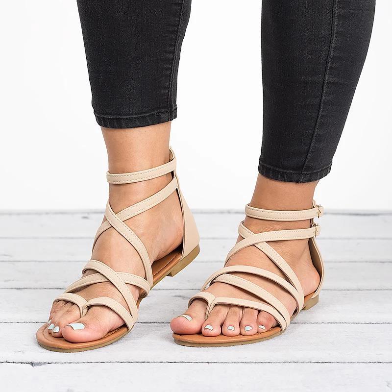 Summer Pu Narrow Band Buckle Cover Heel Flat Gladiator Sandals Womens Gladiator Sandals Womens Summer Shoes Casual Shoes Women