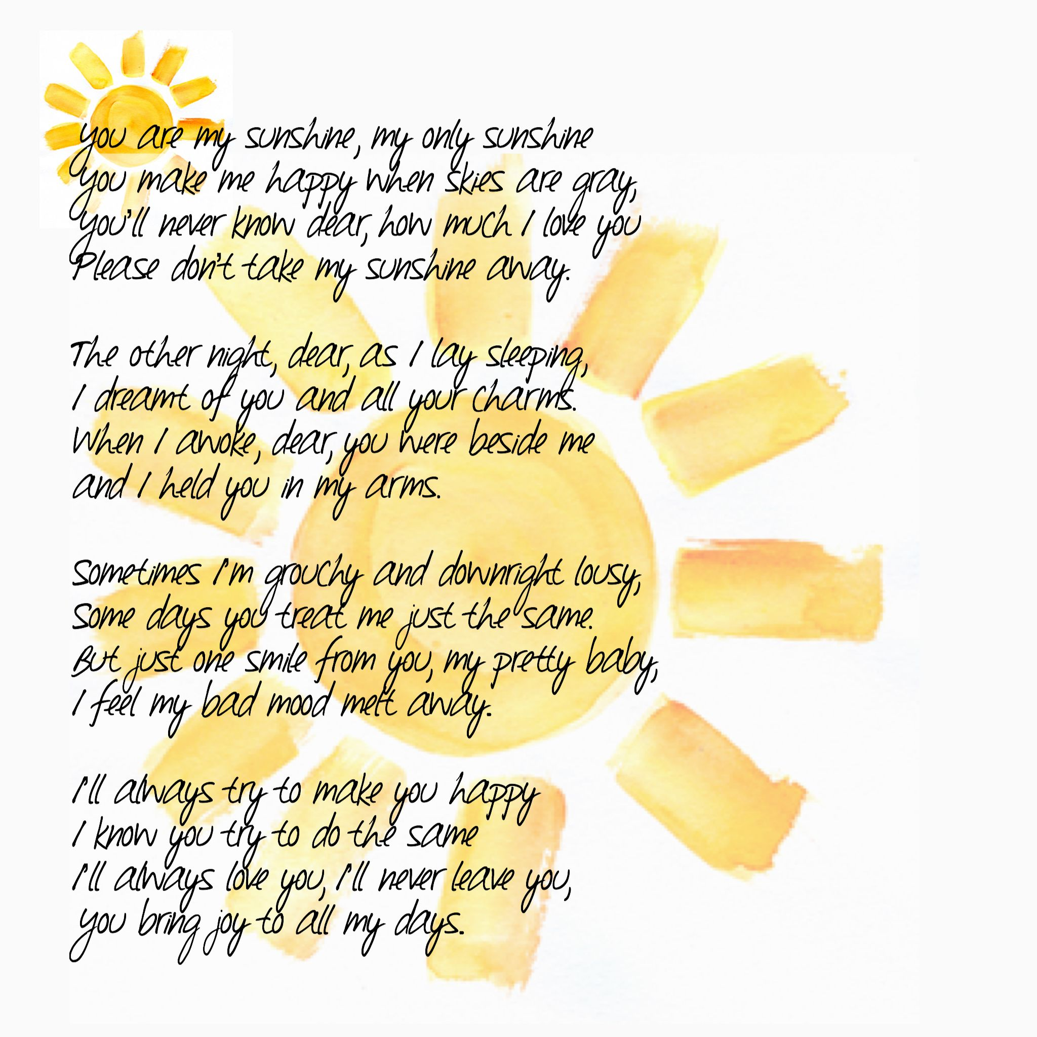 "Some ""happy"" alternative lyrics to ""You are My Sunshine"