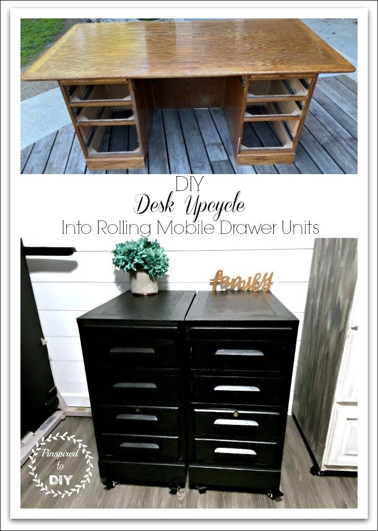 Upcycle an Oak Desk into Rolling File in 2020