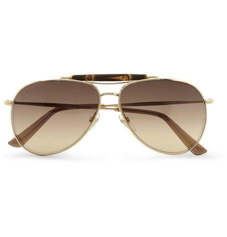 f5f17f7789e Gucci Bamboo and Metal Aviator Sunglasses