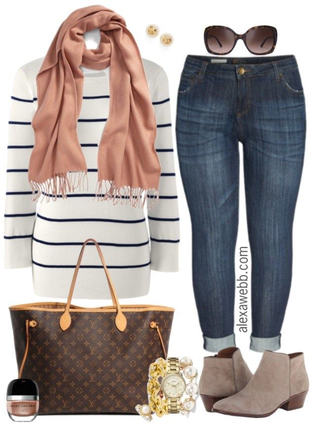 Plus Size Striped Sweater Outfit - Alexa Webb 3