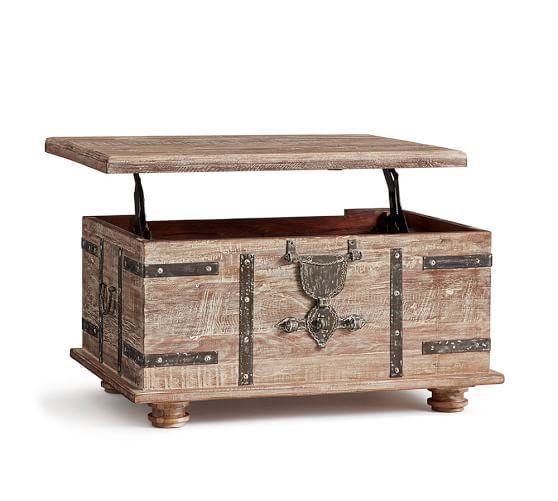 Kaplan Global Trunk Coffee Table Reclaimed Whitewash Small