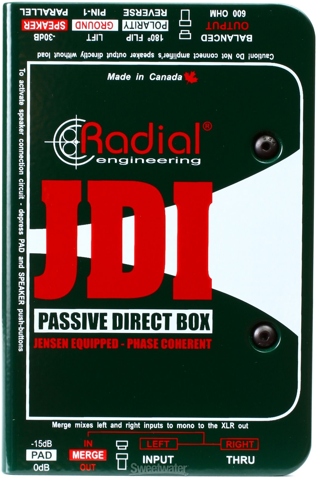 Radial Jdi Jensen Equipped 1 Channel Passive Instrument Direct Box I Beam Circuit Transformers