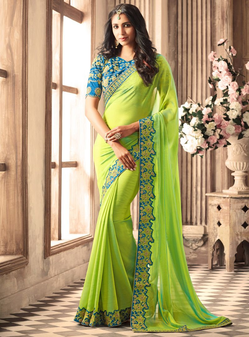 9c76daf45b5d5d Light Green Silk Embroidery Work Saree 114176 | Silk Saree | Saree ...