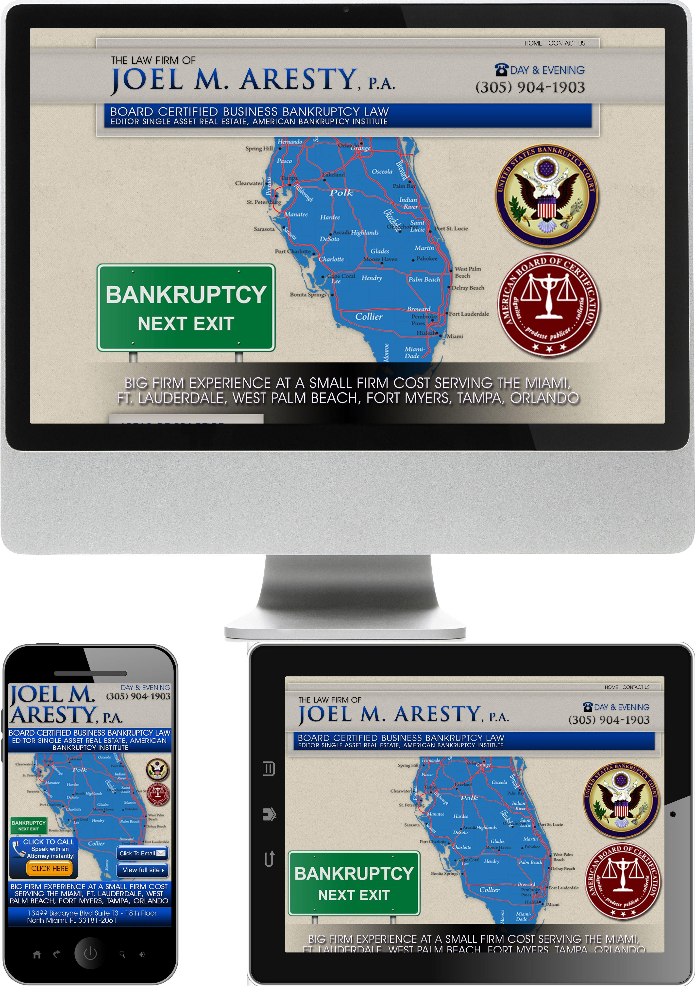 Florida Bankruptcy Attorney Joel Aresty Website Design - Check out our newest portfolio designs at http://firstpageattorney.com/web-design-portfolio/