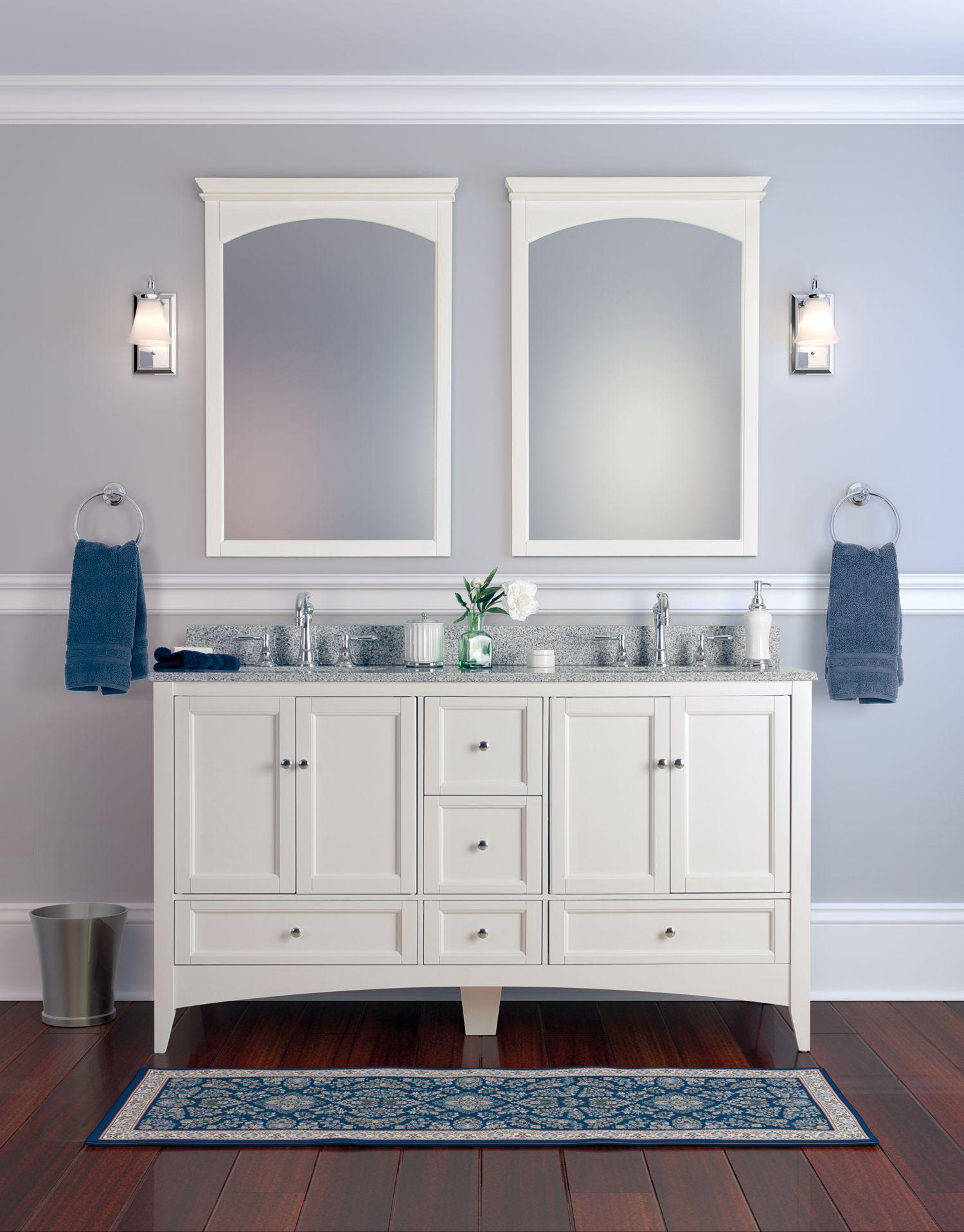 white bathroom mirror with shelf | ThePlanMagazine.com | Minimalist ...
