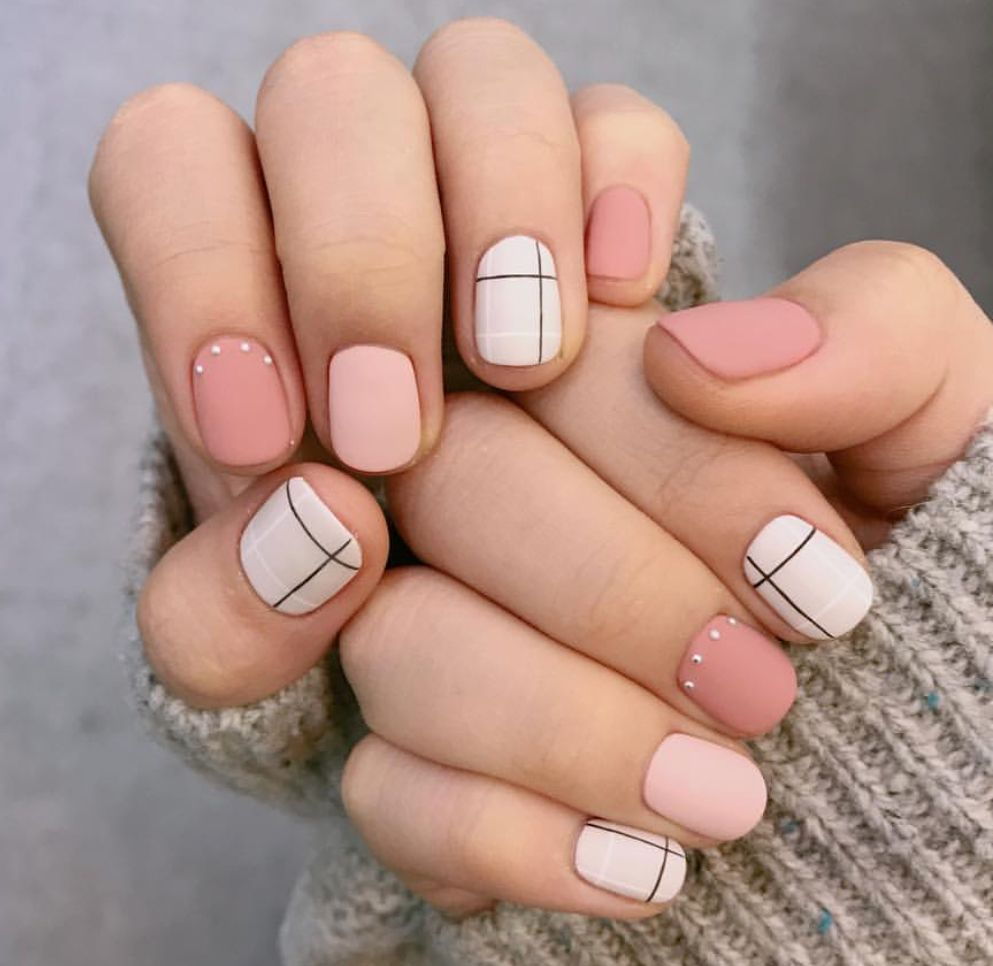 Pink White Lines Cute Spring Nails Nail Designs Spring Nails
