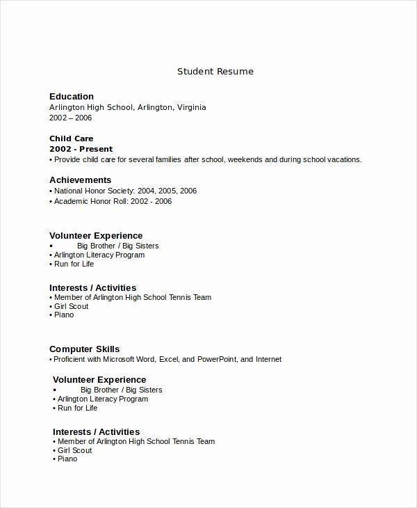 resume examples for highschool students beautiful 10 high