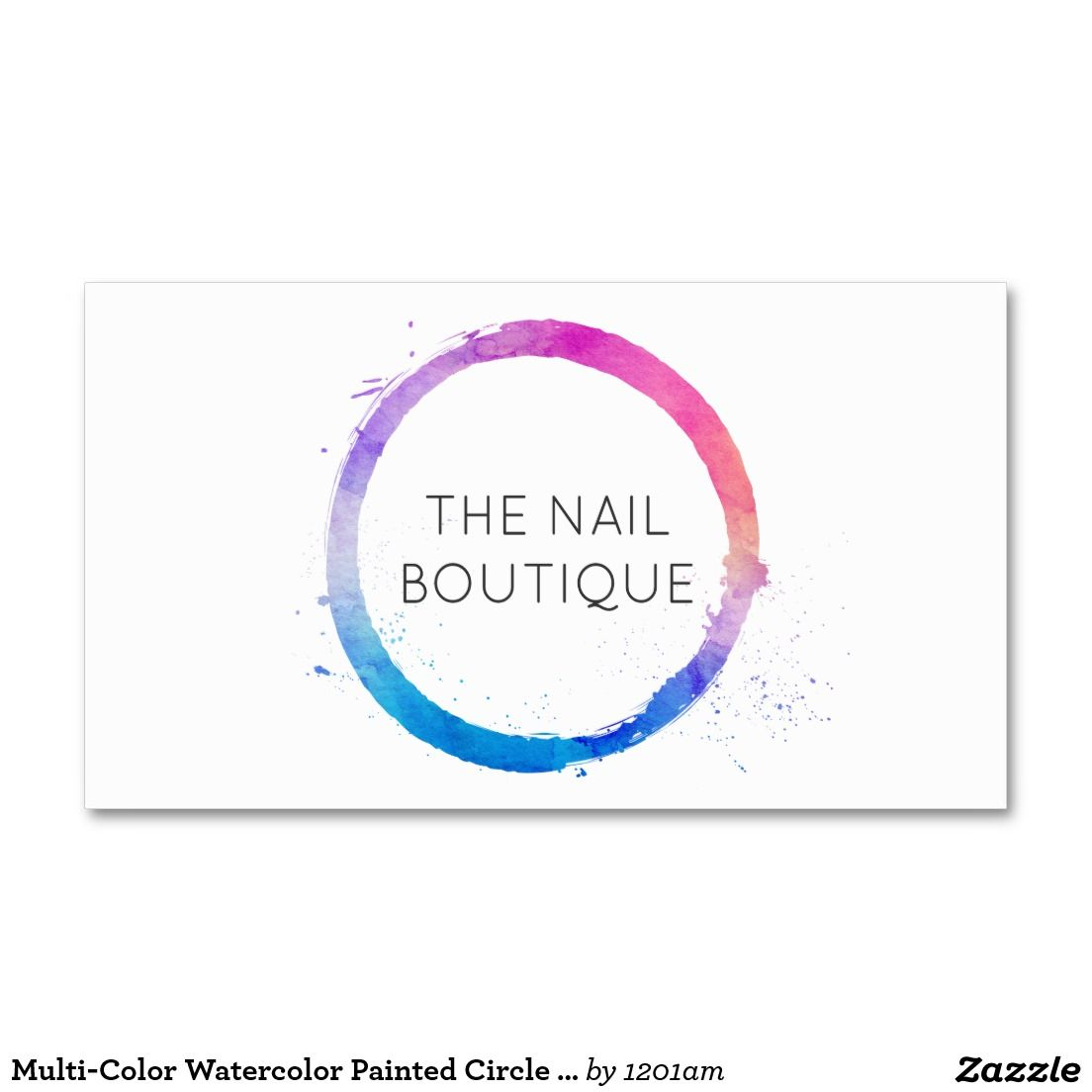 Multi color watercolor painted circle logo business card for nail multi color watercolor painted circle logo business card for nail salons nail artists magicingreecefo Choice Image